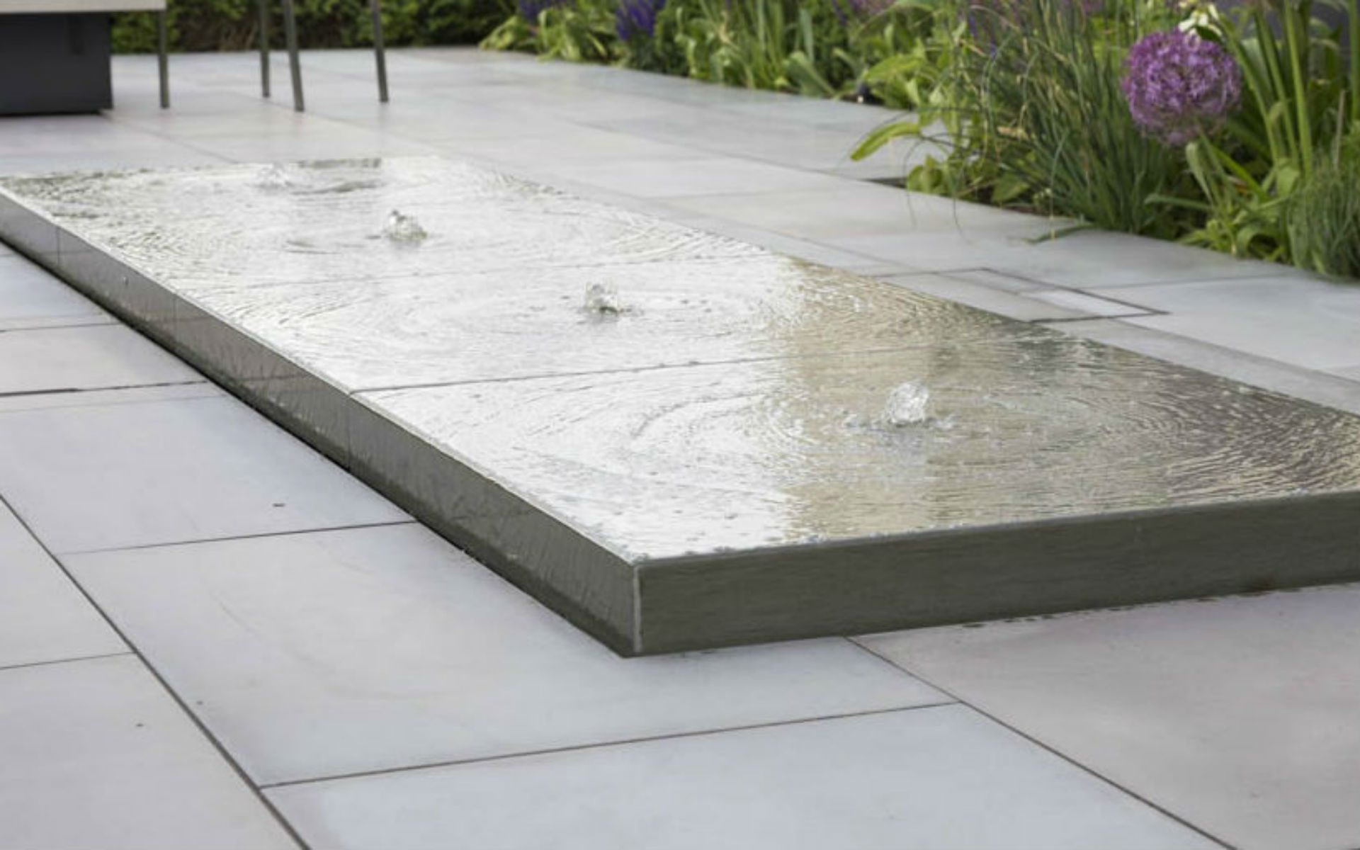 Contemporary Bespoke Water Feature Grey Yorkstone Optic Lighting Hatfield Peverel Essex