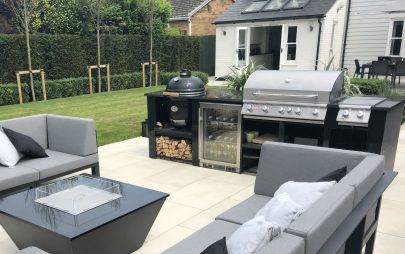 Contemporary Outdoor Kitchen Design Bespoke BBQ Egg Fridge Hot Plate
