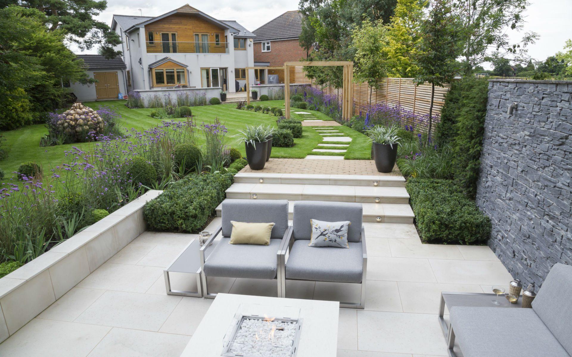 Contemporary Sunken Patio Garden Stock Essex