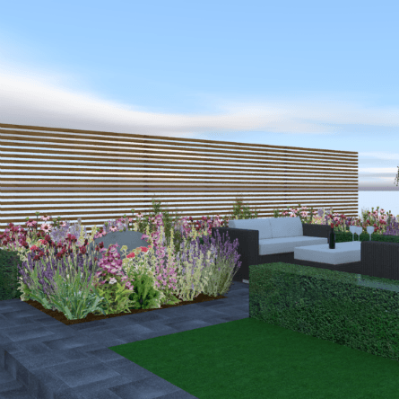Featured Image Garden Design Visual Seating Area Buxus Hedging Slatted Fencing