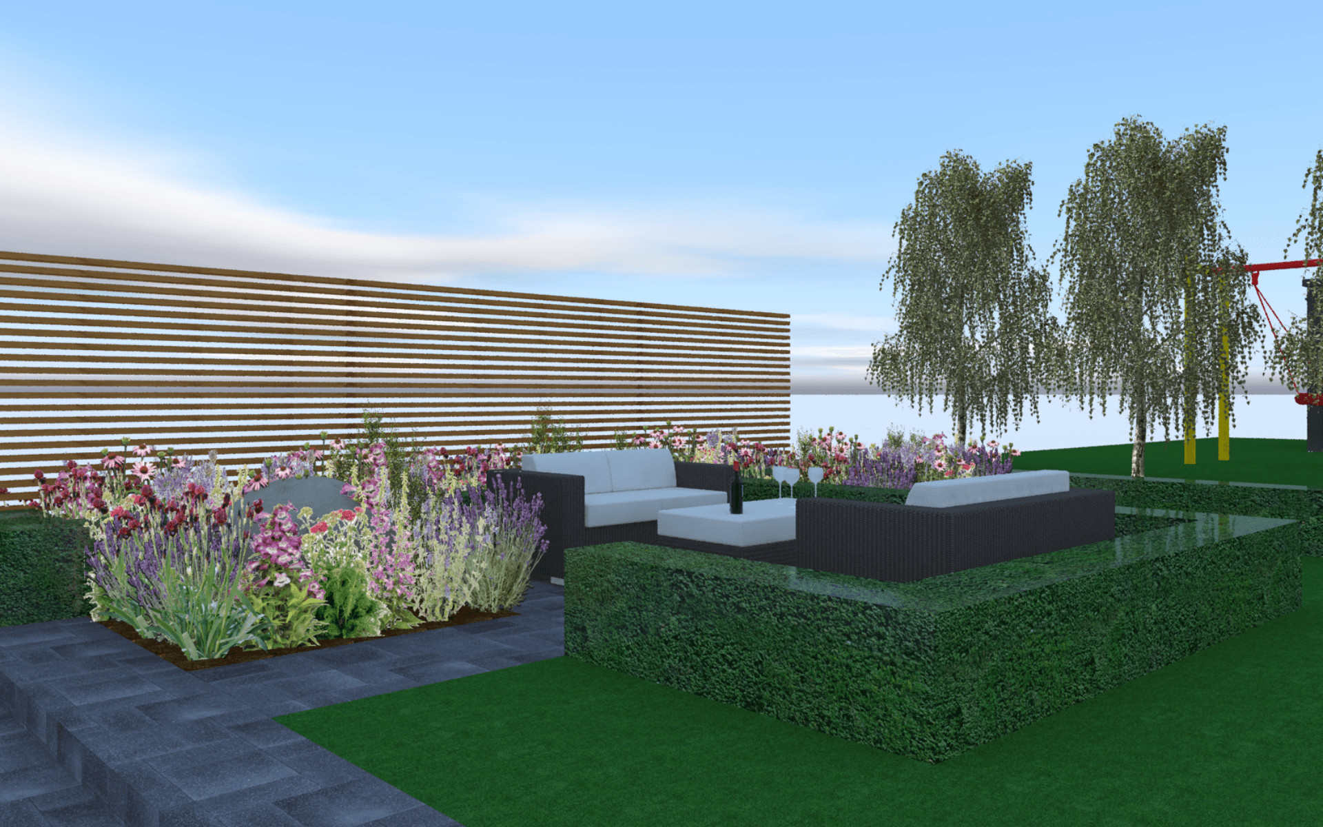 Garden Design Visual Seating Area Buxus Hedging Slatted Fencing