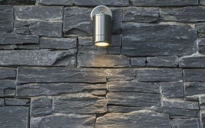 Garden Lighting Design Down Light Slate Cladding