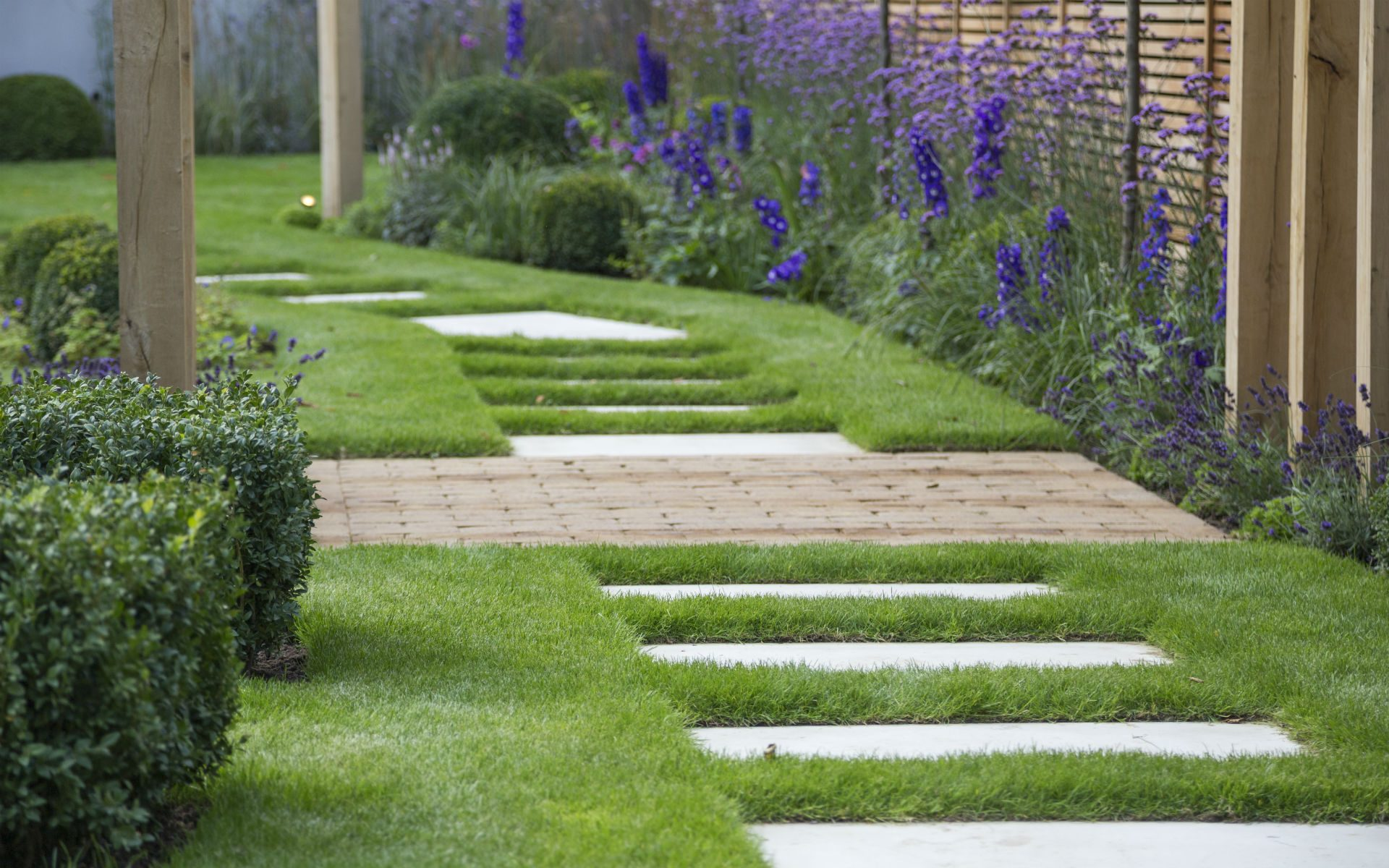 Hard Landscaping Stepping Stone Sandstone Path Pergolas Contemporary Planting Garden Design Essex