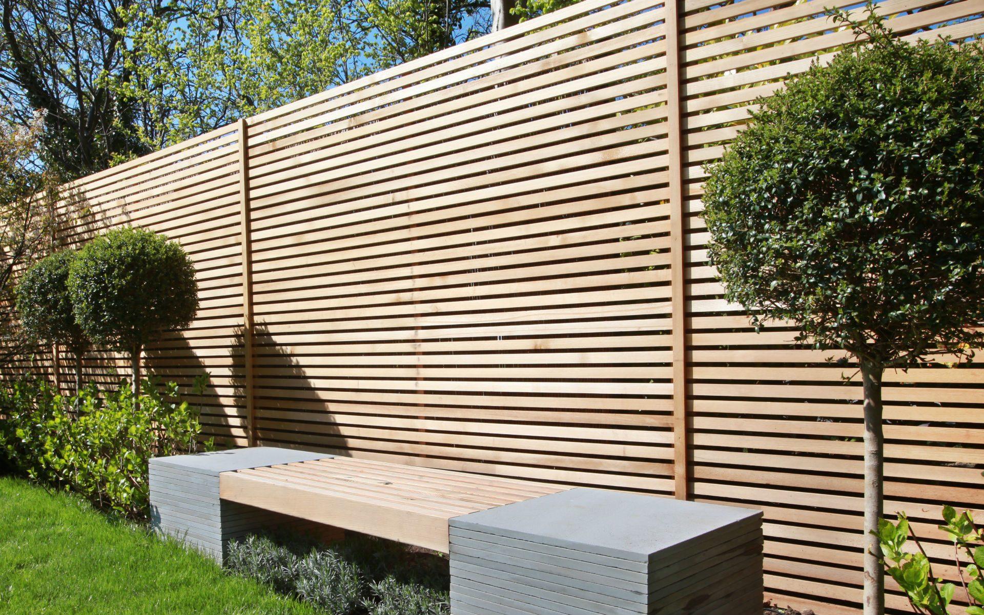 Portfolio Contemporary Front Garden Bespoke Seating Cedar Slatted Fencing