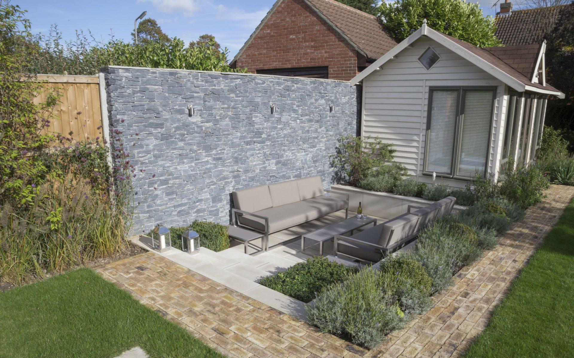 Portfolio Contemporary Garden Chelmsford Essex Sunken Patio Feature Wall Lighting Vande Moortel Path