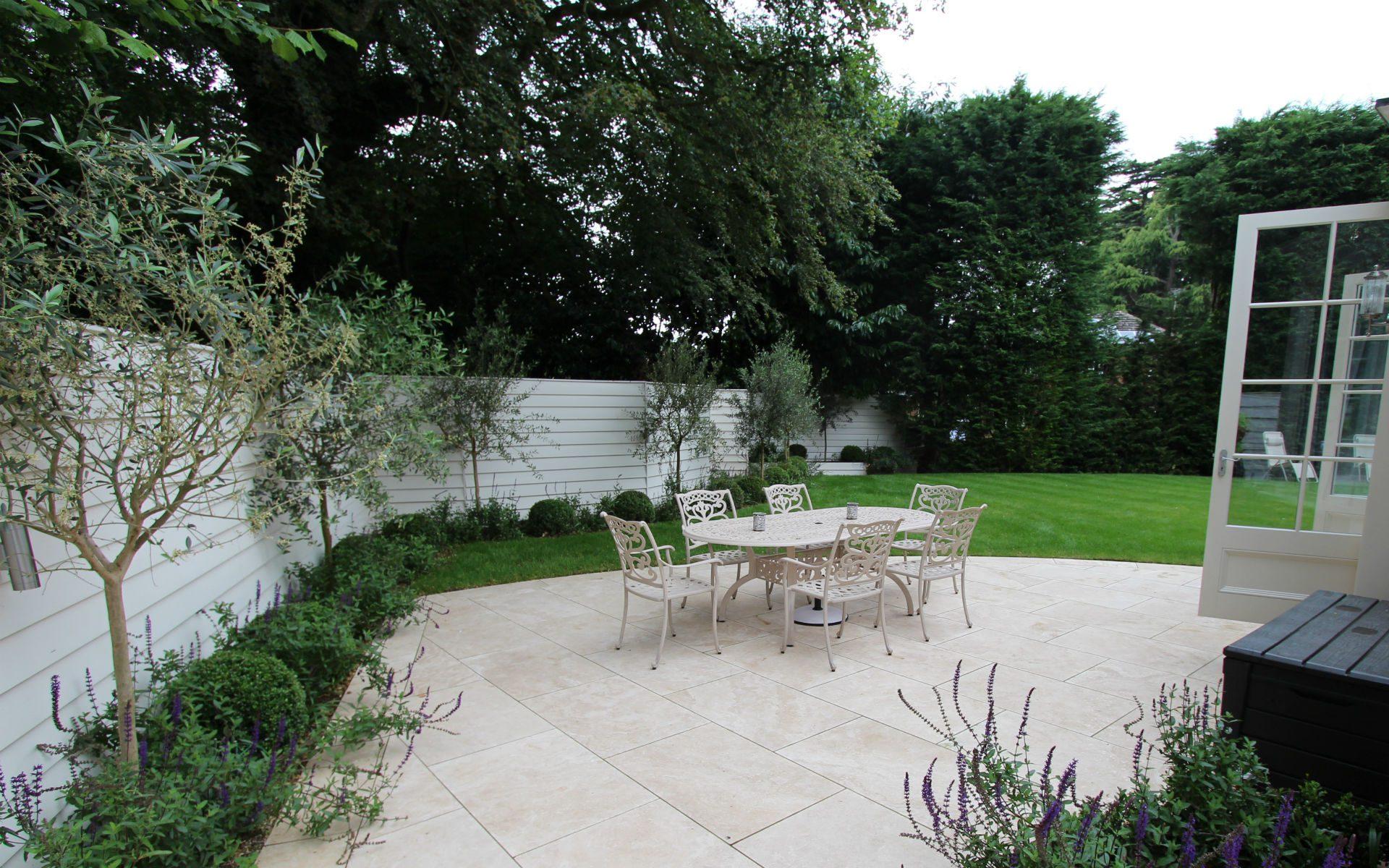 Portfolio Contemporary New England Garden Berkhamsted Hertfordshire Main Patio Olives White Fencing