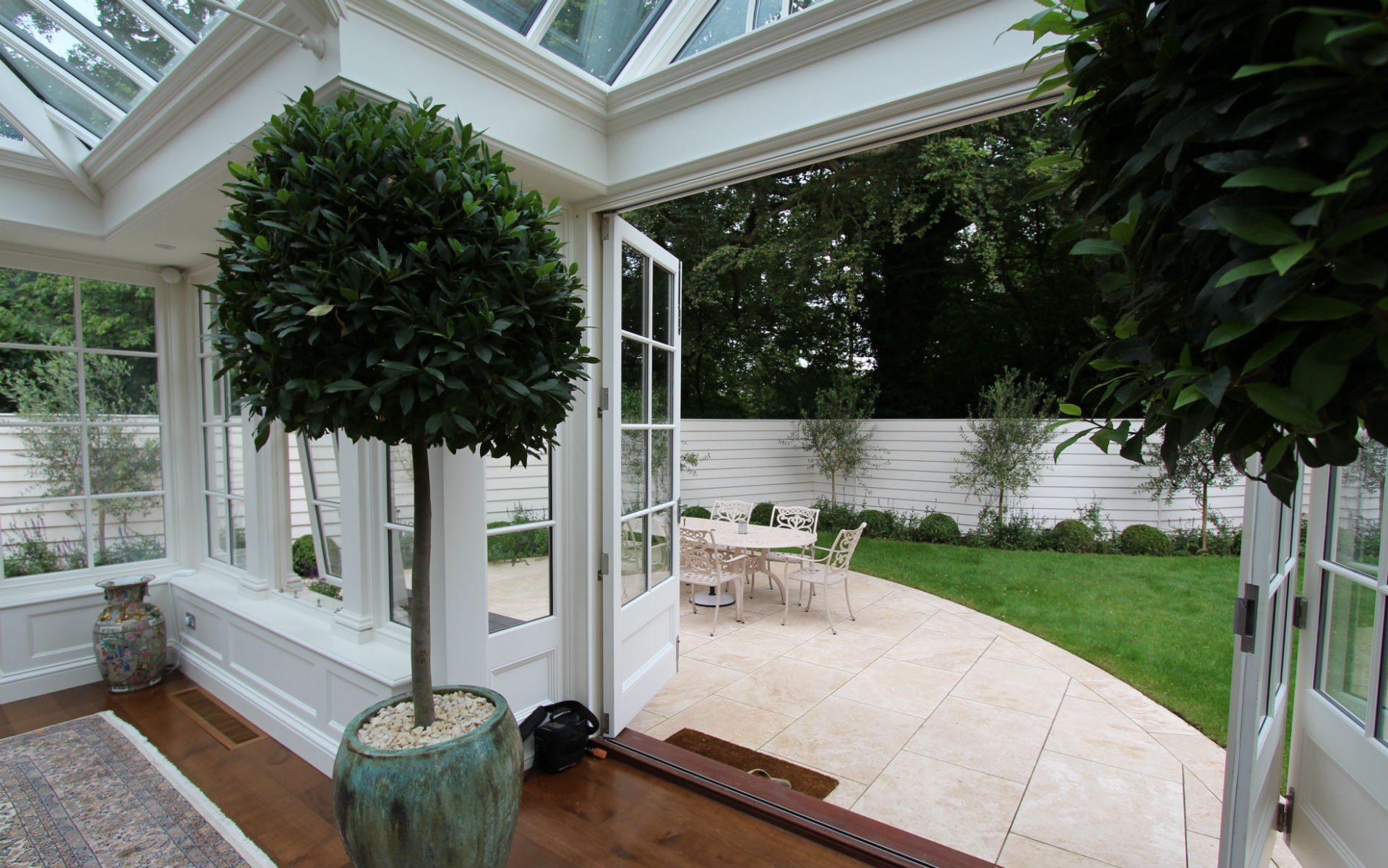 Portfolio Contemporary New England Garden View from Orangery
