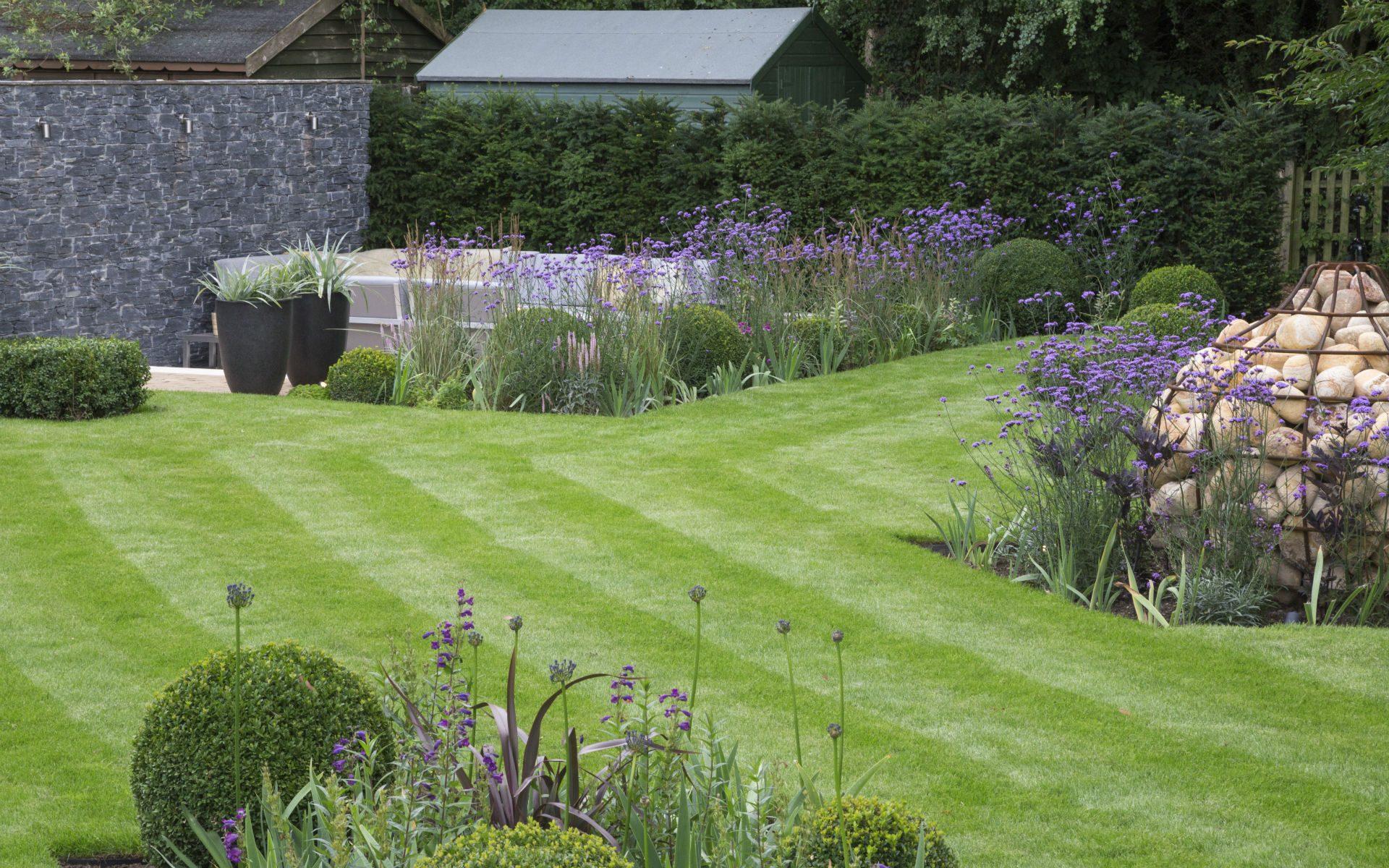 Portfolio Multi-level Contemporary Garden Stock Essex Lawn Gabion Feature Sunken Patio