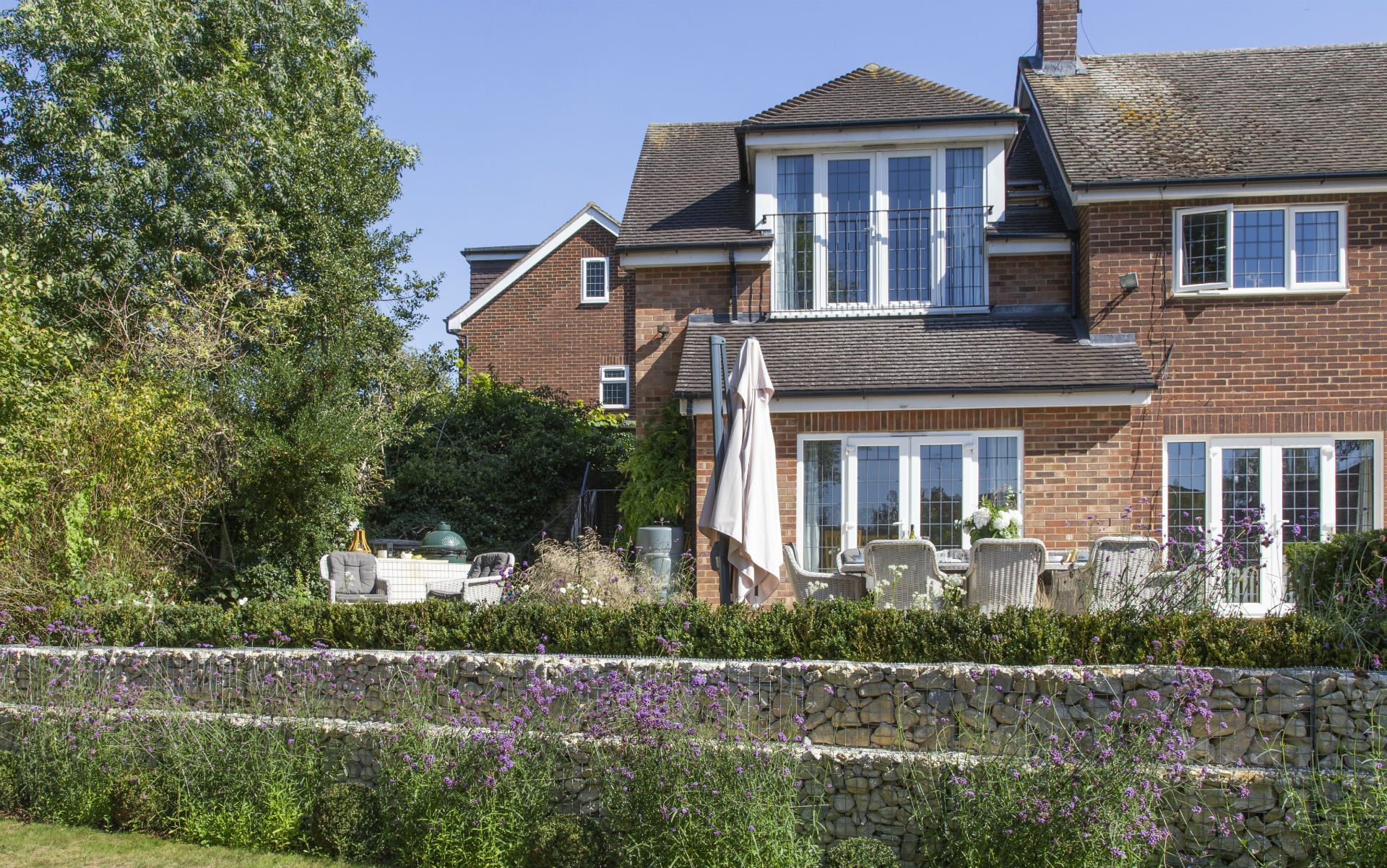 Portfolio Multi-level Landscape Garden Design and Build Ingatestone Essex Gabion Walls Verbena Hedge
