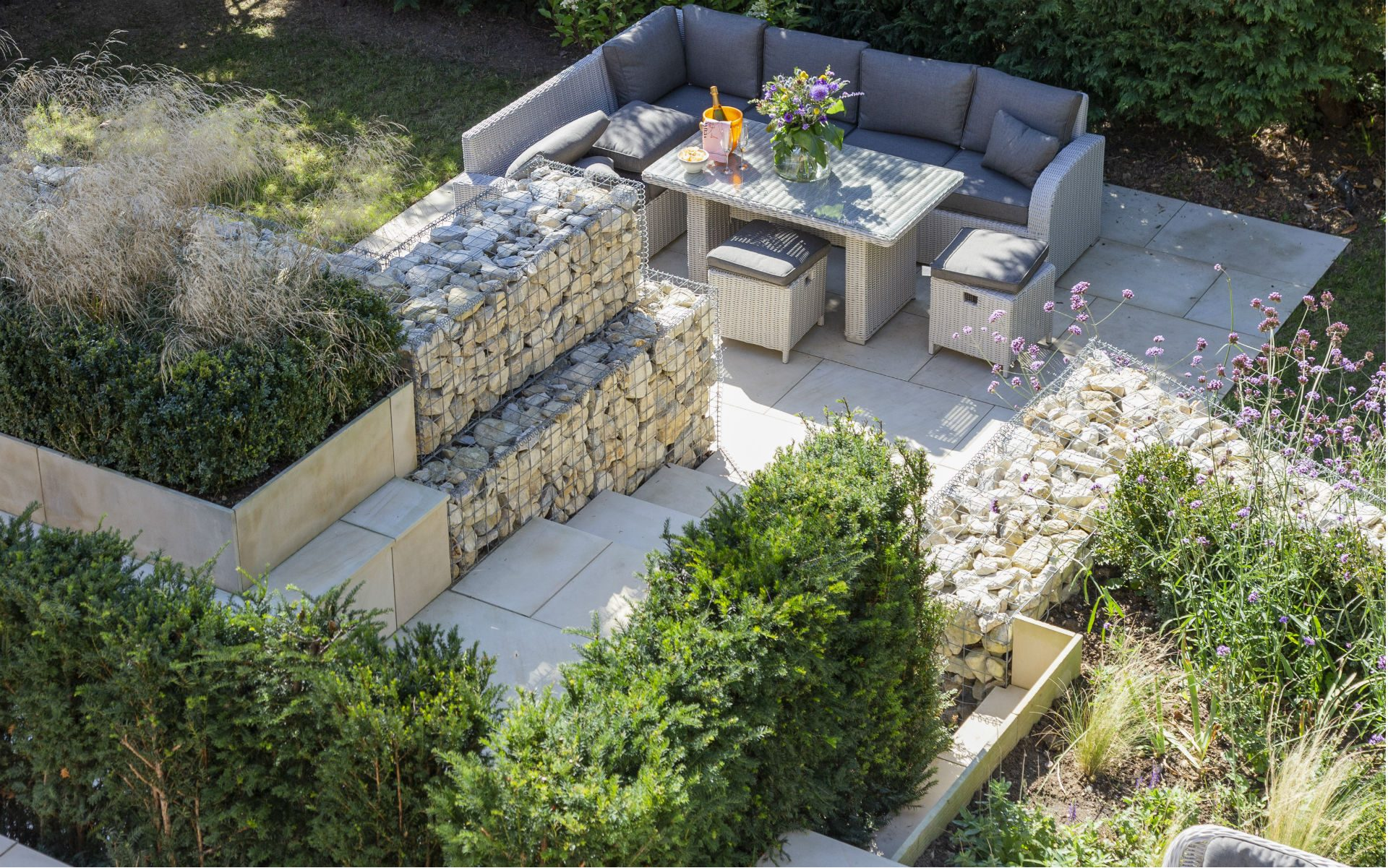 Portfolio Multi-level Landscape Garden Design and Build Lower patio Gabion walls steps