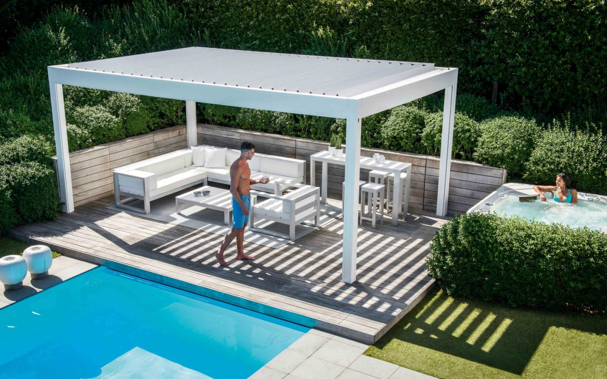 Renson Camargue Louvered Canopy White Cube 1994 Landscaping