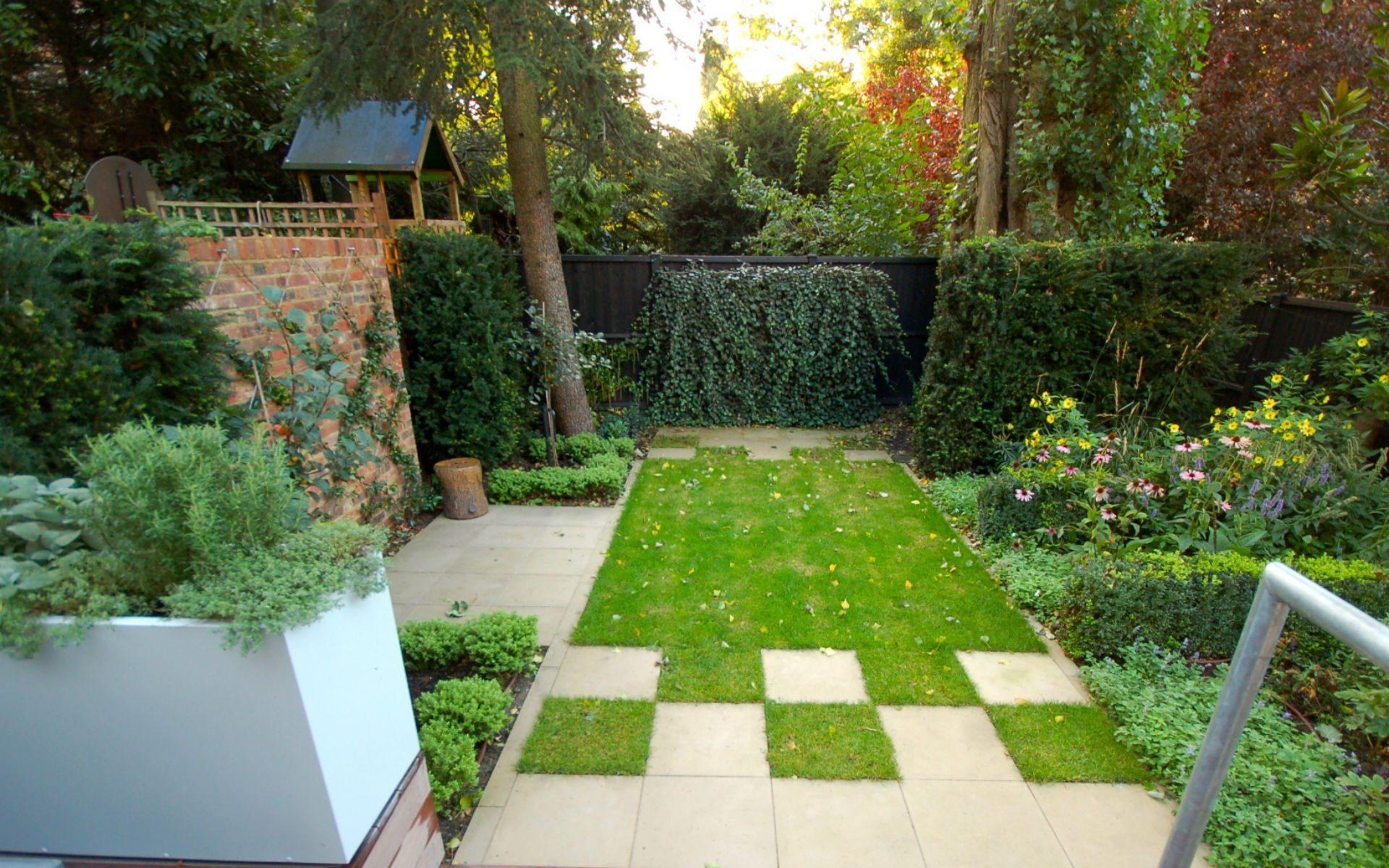 Contemporary Small Urban Garden Hampstead London Portfolio Feature Wall Paving Lawn
