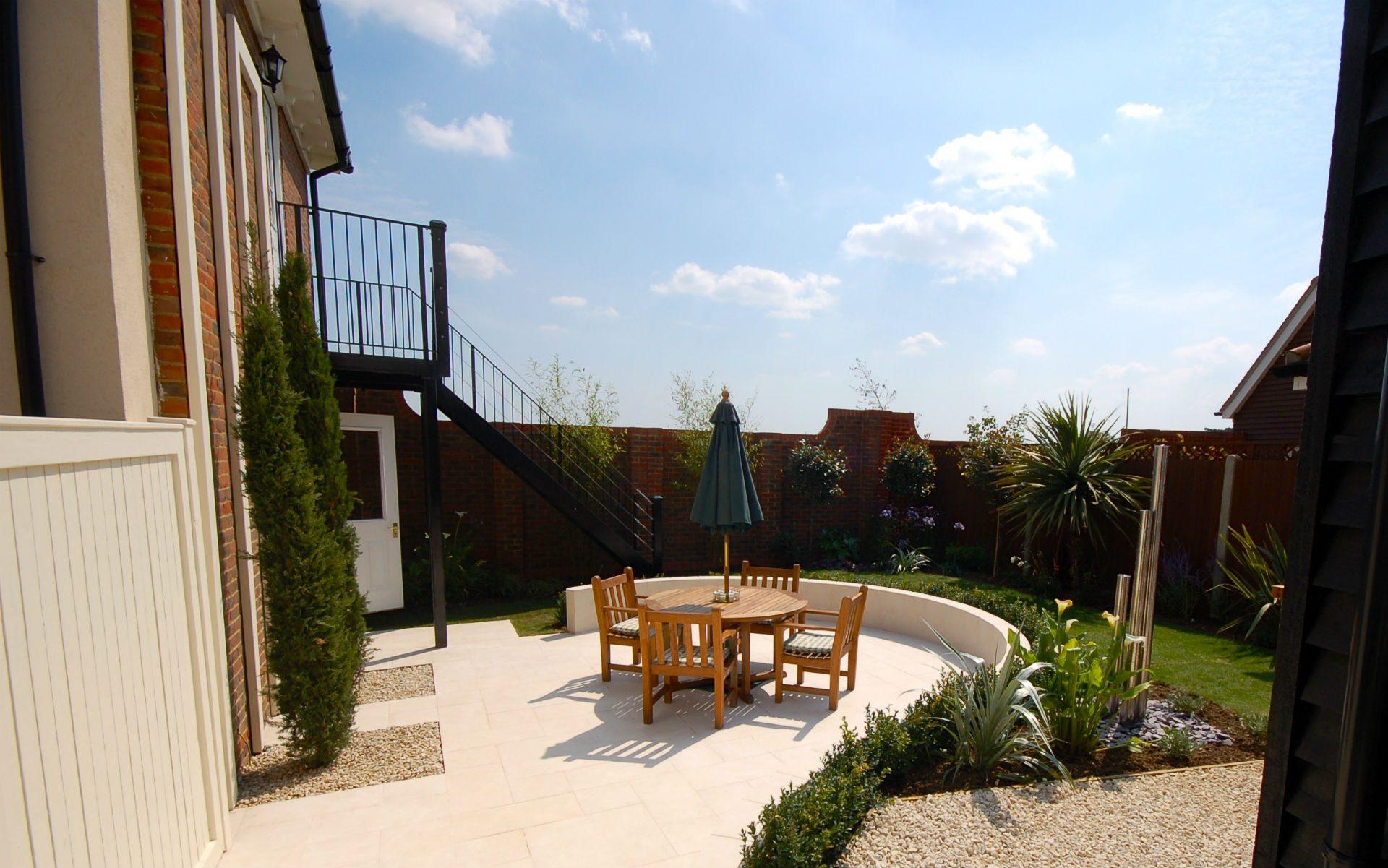 Contemporary Small Urban Garden Springfield Essex Bistro Patio Cypress