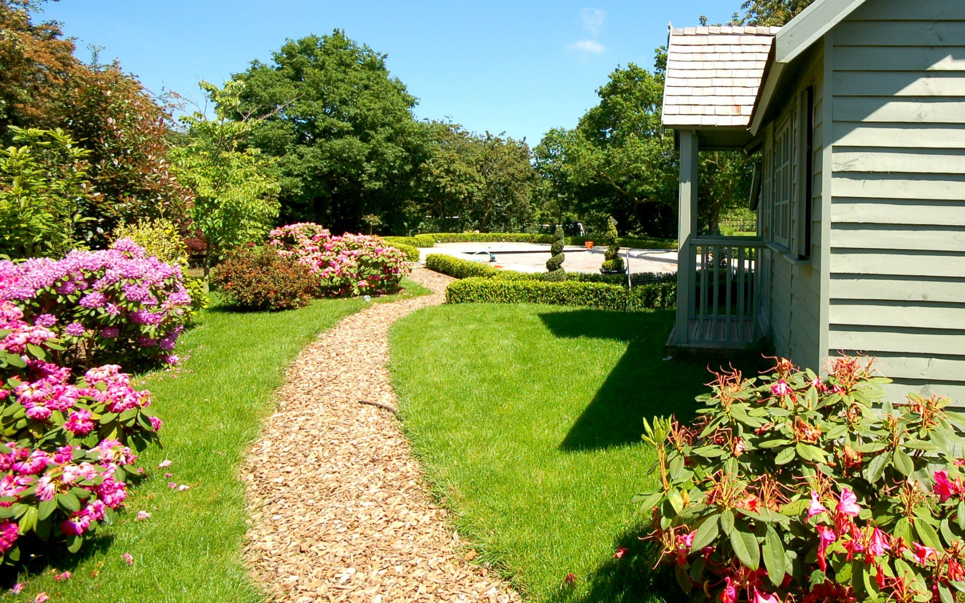 Traditional Country Estate Pool House Bark Mulch Path Cottage Garden