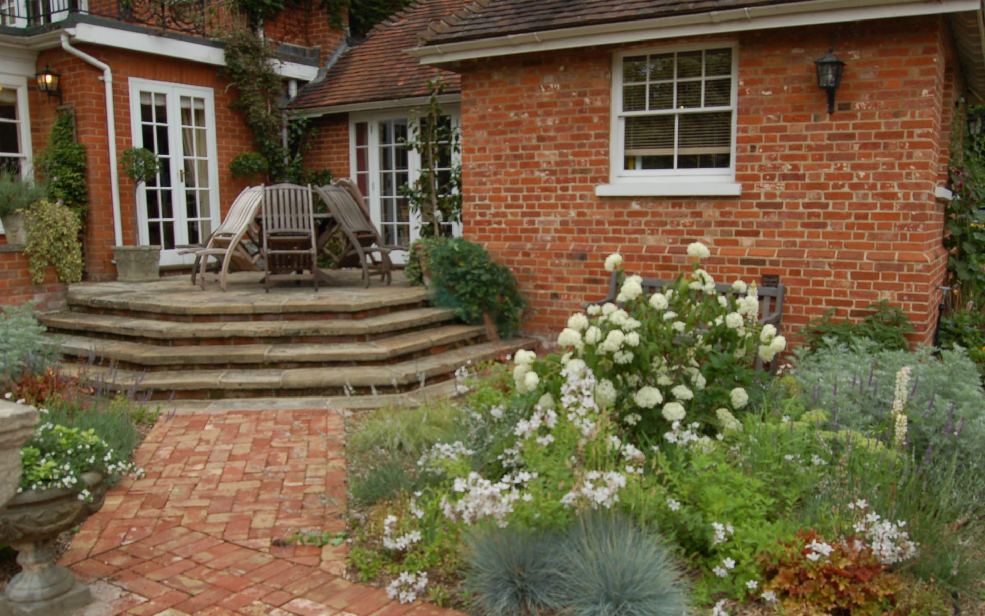 Traditional Country Garden Fryerning Essex White Courtyard