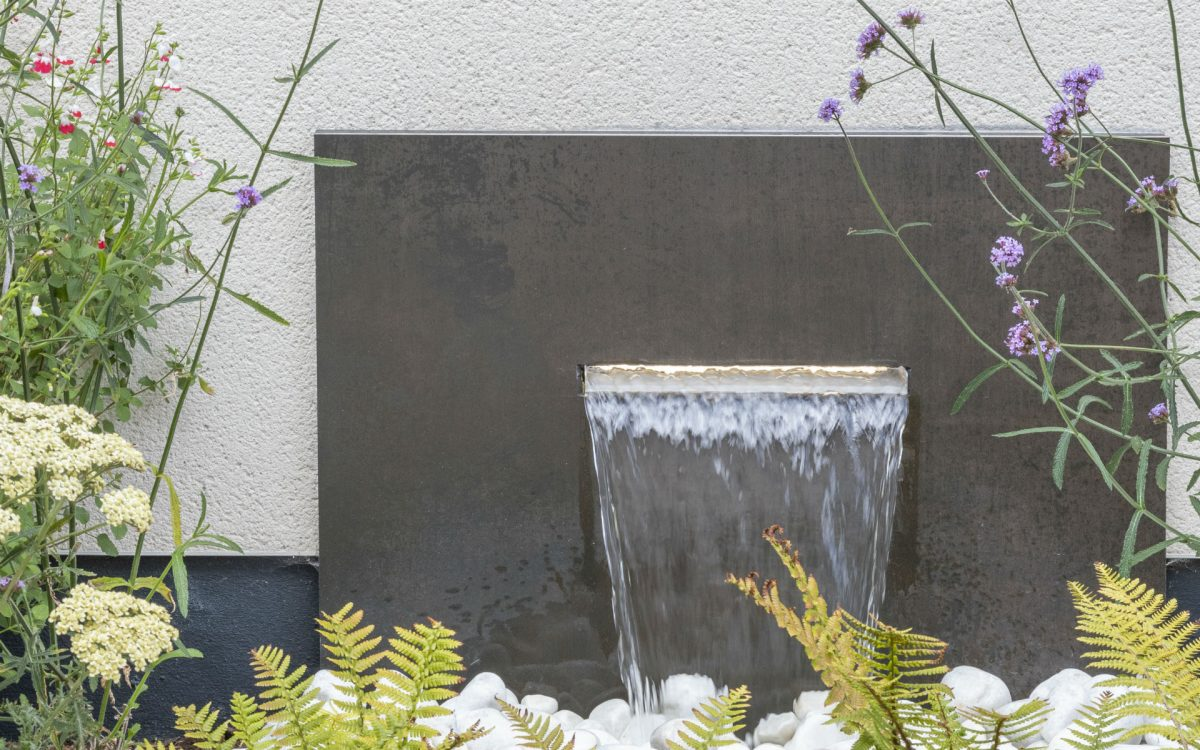 Asian Inspired Contemporary Garden Feature Wall Water Feature Essex