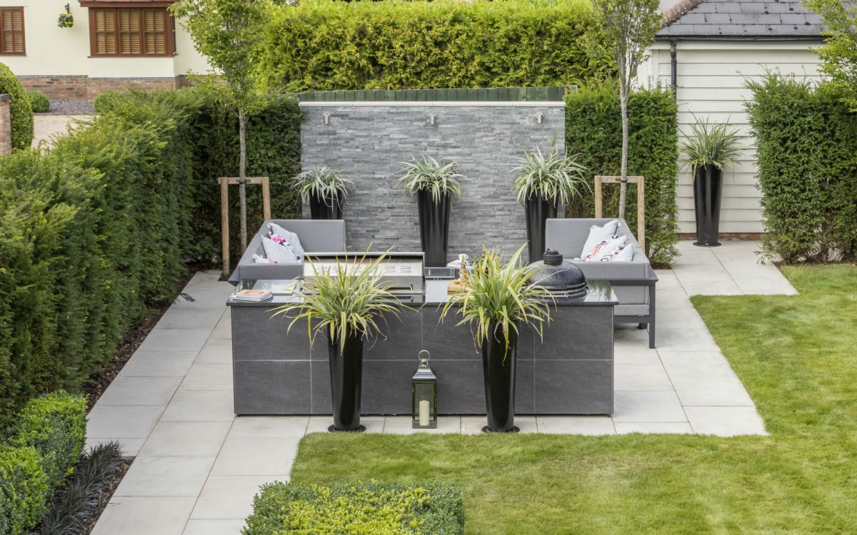 Contemporary Outdoor Kitchen Garden Essex