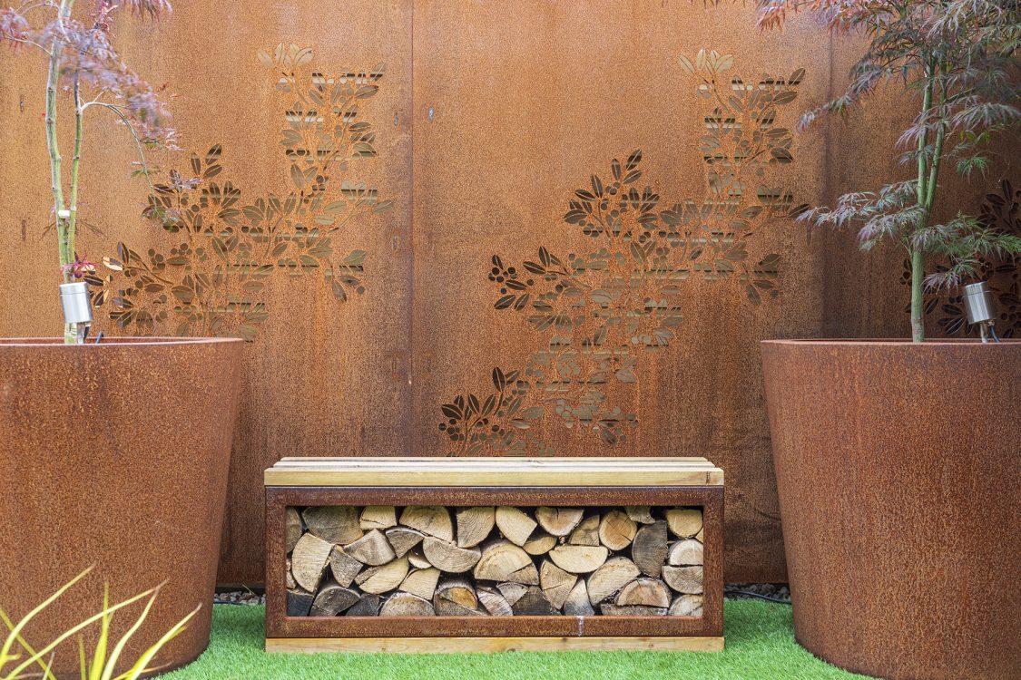 Small Urban Contemporary Garden, Sawbridgeworth Essex. Design and Build Cube 1994. Corten Steel Planters